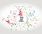 Holiday colorful banners with confetti, ribbons and Party Hat — Cтоковый вектор