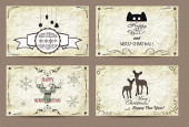 Vintage cards with the old paper background. Merry Christmas and Happy New Year — Stock Vector