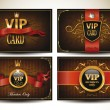 Set of vintage VIP cards with red ribbons — Stock Vector #58506933