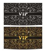 Gold and silver VIP cards — Stock Vector