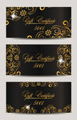 Gold elegant gift certificates — Stock Vector