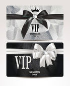 Elegant VIP platinum cards with silk ribbons — Stock Vector