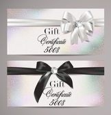Elegant gift certificates with silk ribbons — Vector de stock