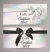 Elegant gift certificates with silk ribbons — Cтоковый вектор
