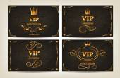 Set of elegant gold VIP cards with floral design elements — Stok Vektör