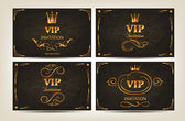 Set of elegant gold VIP cards with floral design elements — Vettoriale Stock