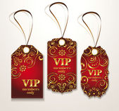 Set of gold and red VIP elegant tags — Stock Vector
