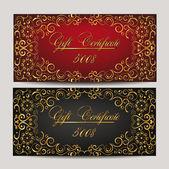 Set of gold elegant gift certificates — Stock Vector
