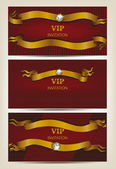 Set of red invitation VIP cards — Stock Vector