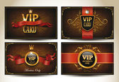 Set of vintage VIP cards with red ribbons — Stock Vector