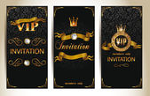 Set of VIP elegant invitation cards — Stock Vector