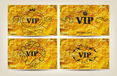 Set of VIP cards on the gold paper background — Stock Vector