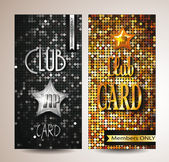 VIP club cards on the disco background — Stock Vector