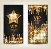 VIP shiny banners with disco background — Stock Vector