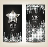 VIP shiny silver banners with disco background — Stock Vector