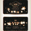 VIP cards with shiny gold stars on the dark background — Stock Vector #60588797