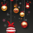 Holiday balls with red ribbons and snowflakes — Stock Vector #60589231