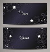 Elegant dark blue gift cards with floral elements and pearls — Stock Vector