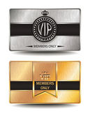 VIP silver and gold cards with geometric texture — Stock Vector