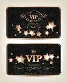 VIP cards with shiny gold stars on the dark background — Stock Vector