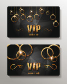 Vip cards with shiny gold circles — Stock Vector