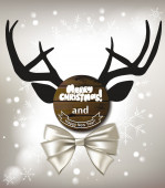 Christmas funny composition with the element of deer head and white bow — Stock Vector