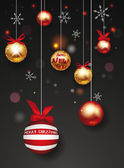 Holiday balls with red ribbons and snowflakes — Stock Vector