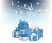 Elegant holiday backgroung with blue gift boxes — Stockvektor