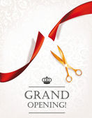 Grand opening invitation card with scissors and red ribbon — Stok Vektör