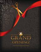 Grand opening invitation card with scissors and red ribbon — Vetor de Stock