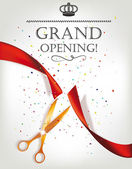Grand opening invitation card with scissors and red ribbon — Stockvektor