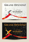 Grand opening invitation card with scissors and red ribbon — Stock Vector