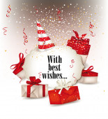 Holiday composition with gift boxes and red ribbons — ストックベクタ
