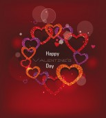 Holiday valentine's card with textured hearts on the red background — Stock Vector
