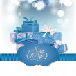 Blue holiday shiny background with gift boxes — Stock Vector #62160833