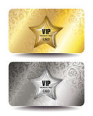 VIP CARDS WITH FLORAL DESIGN AND SHINY STAR — Stock Vector