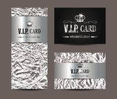 VIP silver cards with foil background — Stock Vector