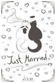 Couple of just married cats — Stock Vector