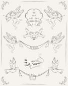 Set of wedding vintage design elements — Stock Vector