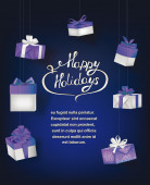 Blue holiday shiny background with gift boxes — Stock Vector