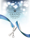Grand opening background with blue ribbon and silver scissors — Stock Vector
