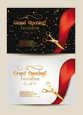 Grand opening invitation cards with confetti and gold scissors — Stock Vector