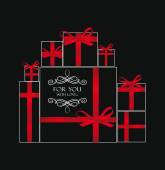Holiday abstract composition with gift boxes and red ribbons — Stock Vector
