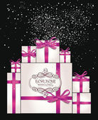 Holiday composition with gift boxes and pink ribbons — Stock Vector