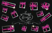 Holiday composition with silver gift boxes and pink ribbons — Stock Vector