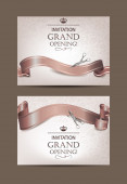 Set of beige invitation grand opening cards — Stock Vector