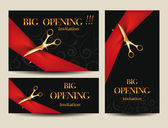 Set of invitation grand opening cards — Stock Vector