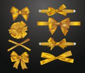 Set of elegant gold silk bows — Stock Vector