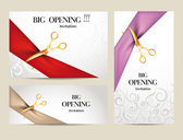 Set of big opening invitation cards with ribbons and scissors — Stock Vector