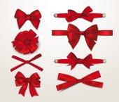 Set of elegant red silk bows — Stock Vector